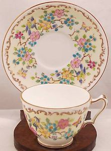 Crown-Staffordshire-China-Cup-and-Saucer-Floral-Bird-Butterfly-Print
