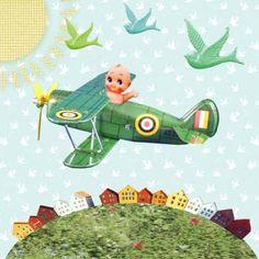 Geboortekaartje Jules www.petitkonijn.nl retro baby in vliegtuig