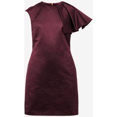 Frilled shoulder tulip dress (650.140 COP) ❤ liked on Polyvore featuring dresses, flutter-sleeve dress, purple dress, frill dress, purple ruffle dress and ted baker dresses