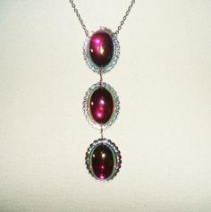 Deep Pink AB CABOCHON Dome Necklace FILIGREE Panel LINE Pendant; F-416