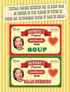 Geef je oude pastaflessen en potten en ander glaswerk een nieuwe kans... Etiketten met je eigen teksten!