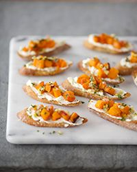 Crostini with Roasted Butternut Squash, Ricotta and Preserved Lemon #recipe