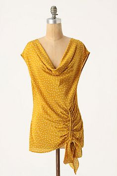 I love a good yellow blouse SO much. And polka dots - delish.