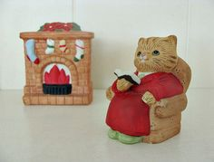 Hey, I found this really awesome Etsy listing at https://www.etsy.com/listing/156402250/vintage-homco-christmas-cat-fireplace