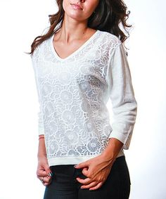 Look at this White Lace Linen-Blend V-Neck Sweater on #zulily today!