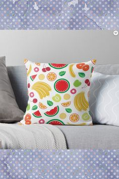 'Mixed Fruit Design' Throw Pillow by Shane Simpson Throw Pillow Covers, Throw Pillows, Guest Bedroom Decor, Flat Shapes, Scandinavian Bedroom, Simple Prints, Mixed Fruit, Bedroom Paint Colors, Traditional Decor