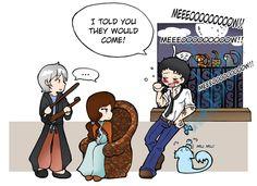 """Violin and cats"" - Jem, Tessa, Will by ~Felwyn"