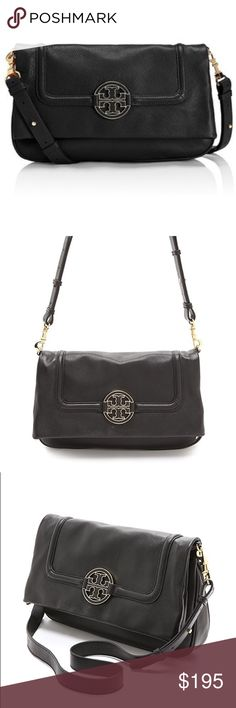 🎀Tory Burch • Amanda Foldover Crossbody Bag🎀 Soft pebbled leather crossbody/messenger bag in black  Great condition • Only worn 3 times • No signs of wear •  Dimensions: 13 x 3 x 7 inches  Really good condition — Always kept in a dust bag between every use! Tory Burch Bags Crossbody Bags