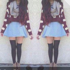 Daisy sweater and demi blue skater skirt