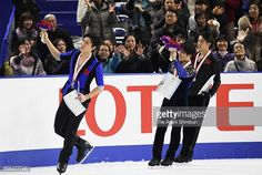 Silver medalist Keiji Tanaka, gold medalist Shoma Uno and bronze medalist Takahito Mura applaud fans after the medal ceremony for the Men's Singles during day four of the 86th All Japan Figure...