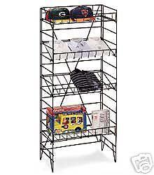 NEW Four Shelf Wire Display Floor Rack Adjustable Shelves Black Flat or Slant