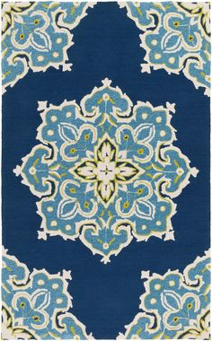 Bold and inspiring, the beautiful contemporary design of this rug are sure to add something new and fresh to any decor. Hues of navy, teal and ivory are emblazed beautifully on this rug, which will be