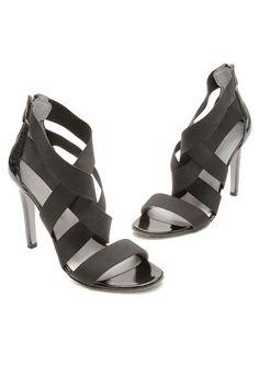 Sergio Rossi Black Patent Strappy Sandals, Size 38.5- Our Price: $79.99