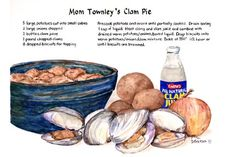 """Mom Townley's Clam Pie"" - Recipe Painting by Brenda Erickson"