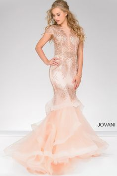 Buy from the newest 2020 collection of Jovani mermaid prom dresses and trumpet gowns. Sexy formal dresses with a fishtail end. Order your mermaid dress today. Blush Prom Dress, Pink Evening Dress, Prom Dresses Jovani, Prom Dresses 2018, Mermaid Prom Dresses, Evening Dresses, Formal Dresses, Pink Dresses, Wedding Dresses