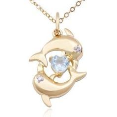 18k Yellow Gold Plated Sterling Silver Blue Topaz and Diamond Accent Dolphins and Heart Pendant, 18, (necklaces for girls, unique gift, dolphin, mood stone, preteen, preteen necklace, teen necklace, heart pendant) jewelry beauty