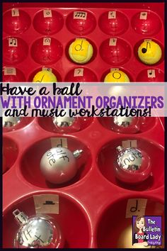 Create a Music Workstation with an Ornament Organizer Music Education Activities, Fun Activities, Winter Activities, Educational Activities, Kindergarten Music, Preschool Music, Music Symbols, Elementary Music