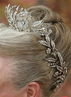 Denmark's Diamond Floral Aigrette Tiara - mid 1800s - rearrangeable three pieces - owned by opera singer Lauritz Melchior - sold in 1963 to King Frederik of Denmark - to daughter Queen Margrethe