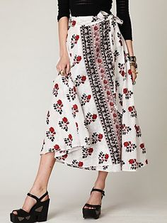 Wrap skirts are such a nice way to mix dressy and casual. I'd wear this with a denim shirt with the sleeves pushed up.