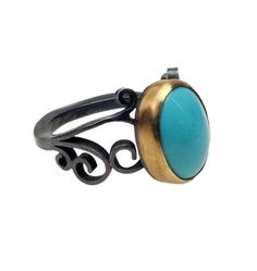Turquoise Filigree Ring size © 2013 Natasha Wozniak Jewelry
