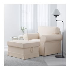 EKTORP Chair - Lofallet beige - IKEA. Chair + Ottoman = $348
