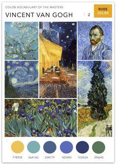 Van Gogh's use of color shows a deliberate attempt to capture mood and emotion rather than a realistic visual portrayal. His techniques inc. Van Gogh Tattoo, Vincent Van Gogh, Colour Pallete, Colour Schemes, Color Palettes, Van Gogh Art, Van Gogh Paintings, Art Deco, Grafik Design