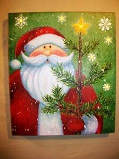 Lighted Santa Claus w Tree Picture on Canvas with Led Lights Wall Art Christmas Decor Christmas Fair Ideas, Christmas Blocks, Christmas Scenes, Christmas Love, Christmas Pictures, Christmas Ornaments, Santa Paintings, Christmas Paintings On Canvas, Santa Canvas