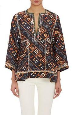 ISABEL MARANT Abstract-Print Topaz Blouse. #isabelmarant #cloth #blouse