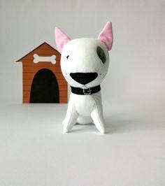 American pit bull Terrier-whiter pitbull terrier-plush pit bull-stuffed bull Terrier-fighting dog-Bull terrier-stuffed dog-stuffed animal  by Yana33, $21.00 USD
