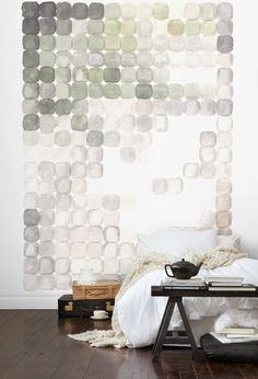 Do an oversized canvas on dining room wall. Watercolor • Mural • White • Green • Grey • Circles • Squares