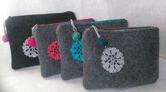 Grey Felt Tote Bag crochet applique for shopping by feltallovercom Felt Clutch, Felt Purse, Grey Tote Bags, Makeup Pouch, Ribbon Art, Felt Ball, Knitted Bags, Toiletry Bag, Felt Crafts