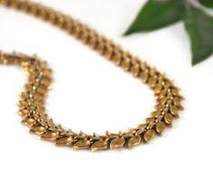 Trifari Alfred Philippe Gold Leaf Leaves Necklace Bracelet Demi Parure Choker 50's Autumn Vintage  - W3231