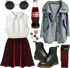 """Acid washed"" by hanaglatison ❤ liked on Polyvore"