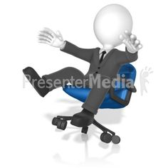 A businessman in an office chair tips over. #powerpoint #clipart #illustrations