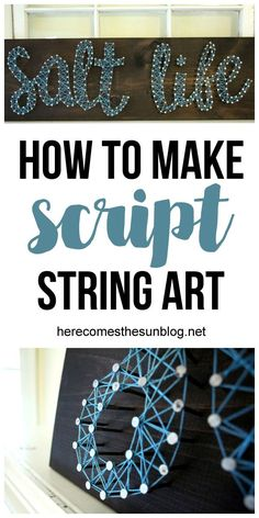 Script string art is easy to create and makes a great statement piece! Click for the easy tutorial!