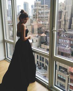 A-Line Sweetheart Sweep Train Black Satin Prom Dress with Lace from Santafe Bridal Black Prom Dresses, Elegant Dresses, Formal Dresses, Amazing Dresses, Dress Black, Prom Dress With Train, Lace Dress, Dress Up, Chanel