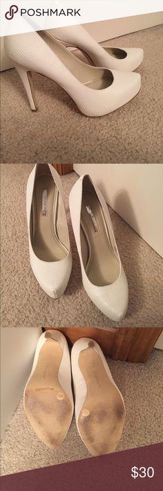 BCBG white heels BCBG white textured heels, 4 inch heel. Worn twice, in good condition! Size 7.5 BCBG Shoes Heels