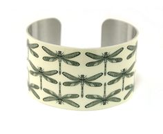 Cuff bracelet, wide metal bangle with dragonflies. C144, £19.50