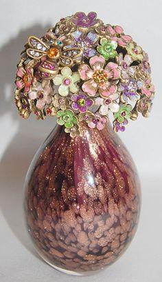 """Jay Strongwater 5"""" Art Glass Perfume Bottle with Enamel Flower Stopper   eBay"""