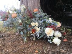 Asymmetrical centerpiece in a mercury compote (with cream roses, burgundy astilbe, pink ranunculus, dusty miller, blue thistle and orange mums Wedding Events, Wedding Ideas, Astilbe, Dusty Miller, Cream Roses, Ranunculus, Mercury, Floral Design, Centerpieces