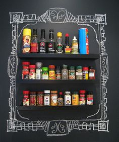 interior, Excellent Idea With Spices Rack On Chalkboard Paint Wall: Chalkboard Wall Design in Different Spaces Chalkboard Paint Kitchen, Chalkboard Paint Projects, Framed Chalkboard, Kitchen Paint, Chalkboard Ideas, Blackboard Paint, Kitchen Design, Chalkboard Background, Kitchen Decor