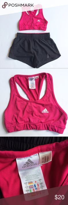 Athletic Bundle Black Reebox running shorts with cut out air vent & medium impact fuchsia pick Adidas sports bra. Both size Medium Intimates & Sleepwear Bras