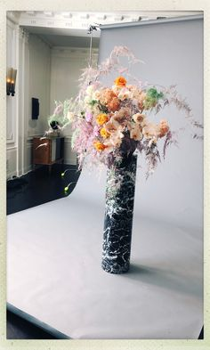 A floral arrangement by Isa Isa Floral rests atop my Marble Column. Purple Bouquets, Purple Wedding Flowers, Big Flowers, Flower Bouquet Wedding, Flower Bouquets, Bridal Bouquets, Wedding Flower Arrangements, Floral Arrangements, Tall Wedding Centerpieces