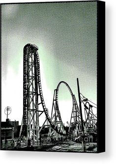 Coaster Thrills  Canvas Print by Onedayoneimage Photography.   roller coaster, coney island, coney, pop art, dot art, rollercoaster, coaster, mono, monochrome, carnival, carnival ride, thrilling, thrills, popart, nyc, new york city, brooklyn, america's playground, monochromatic, dotted, decor, urban art, interior design, wall art, wall decor,