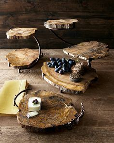 Wood Two-Tier Server Petrified Wood Serving Pieces by Janice Minor at Horchow.Petrified Wood Serving Pieces by Janice Minor at Horchow. Tiered Server, Tiered Stand, Log Furniture, Servers Furniture, Furniture Ideas, Petrified Wood, Wood Creations, Wood Slices, Wood Design