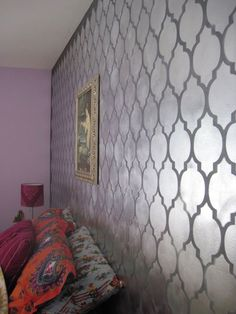 this silver stencil wall looks awesome!