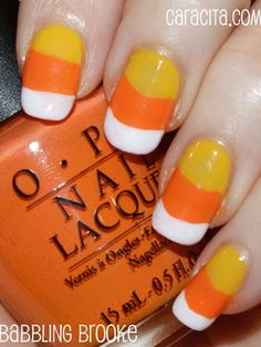 Candy Corn Nails for #Halloween!  my co worker has hers like this