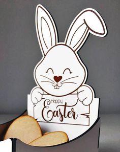 Pâques Cadeau Blank CRAFT Forme Bunny Rabbit Pack de 4 MDF Kinder Egg Holder