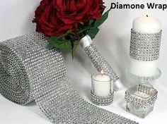 DIAMOND MESH WRAP ROLL SPARKLE RHINESTONE Crystal Platinum Ribbon! Who knew this existed!
