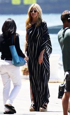 bcc94e50e22 Heidi Klum wearing a Halston Heritage One-Shoulder Draped Striped Dress  http